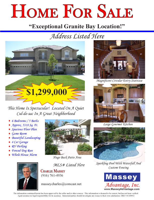 greater sacramento real estate charlie massey flyer example